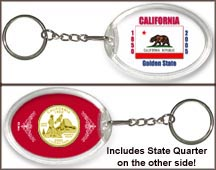 California - State Flag Keychain - with Gold Plated State Quarter