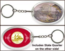 California - Golden State Keychain - with Gold Plated State Quarter
