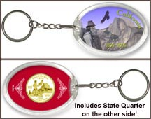 California - Yosemite Keychain - with Gold Plated State Quarter