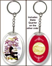Colorado - State Bird & Flower Keychain - with Gold Plated State Quarter