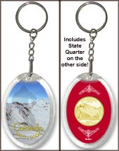 Colorado - Colorful Colorado Keychain - with Gold Plated State Quarter