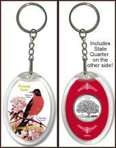 Connecticut - State Bird & Flower Keychain