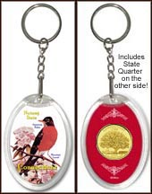 Connecticut - State Bird & Flower Keychain - with Gold Plated State Quarter