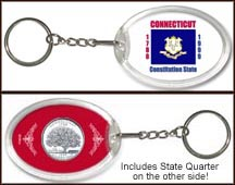 Connecticut - State Flag Keychain