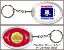 Connecticut - State Flag Keychain - with Gold Plated State Quarter
