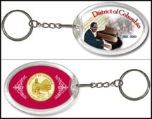 District of Columbia - Duke Ellington Keychain - with Gold Plated Territorial Quarter