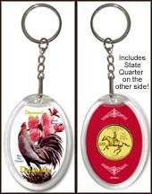 Delaware - State Bird & Flower Keychain - with Gold Plated State Quarter
