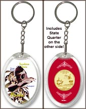 Florida - State Bird & Flower Keychain - with Gold Plated State Quarter
