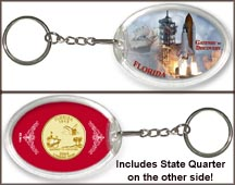 Florida - Gateway To Discovery Keychain - with Gold Plated State Quarter