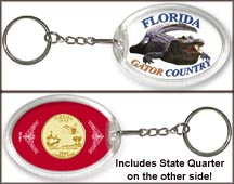 Florida - Gator Country Keychain - with Gold Plated State Quarter