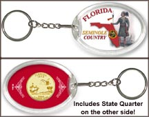 Florida - Seminole Country Keychain - with Gold Plated State Quarter