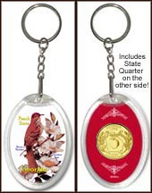 Georgia - State Bird & Flower Keychain - with Gold Plated State Quarter