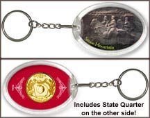 Georgia - Stone Mountain Keychain - with Gold Plated State Quarter