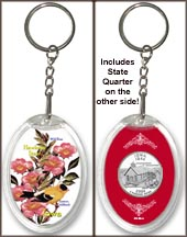 Iowa - State Bird & Flower Keychain