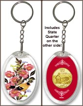 Iowa - State Bird & Flower Keychain - with Gold Plated State Quarter