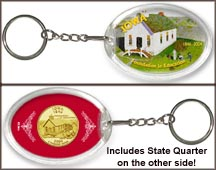 Iowa - Foundation In Education Keychain - with Gold Plated State Quarter
