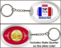 Iowa - State Flag Keychain - with Gold Plated State Quarter