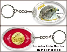 Iowa - Hawkeye State Keychain - with Gold Plated State Quarter