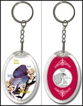 Idaho - State Bird & Flower Keychain