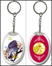 Idaho - State Bird & Flower Keychain - with Gold Plated State Quarter
