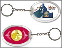 Idaho - Falcon Keychain - with Gold Plated State Quarter