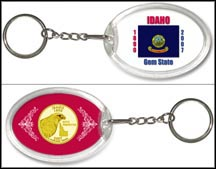 Idaho - State Flag Keychain - with Gold Plated State Quarter