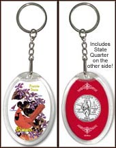 Illinois - State Bird & Flower Keychain