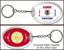 Illinois - State Flag Keychain - with Gold Plated State Quarter