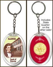 Illinois - Land of Lincoln Keychain - with Gold Plated State Quarter