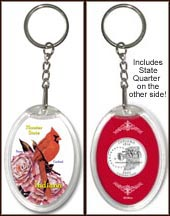 Indiana - State Bird & Flower Keychain