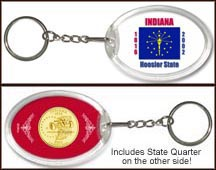 Indiana - State Flag Keychain - with Gold Plated State Quarter