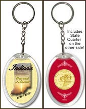 Indiana - State Motto Keychain - with Gold Plated State Quarter