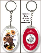 Kansas - State Bird & Flower Keychain