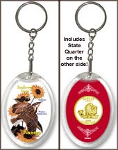 Kansas - State Bird & Flower Keychain - with Gold Plated State Quarter