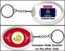 Kansas - State Flag Keychain - with Gold Plated State Quarter