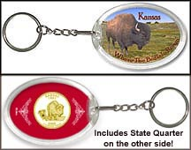 Kansas - Where The Buffalo Roam Keychain - with Gold Plated State Quarter