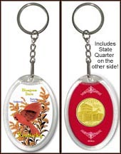 Kentucky - State Bird & Flower Keychain - with Gold Plated State Quarter