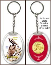 Louisiana - State Bird & Flower Keychain - with Gold Plated State Quarter