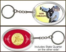Louisiana - New Orleans Jazz Keychain - with Gold Plated State Quarter
