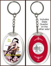 Massachusetts - State Bird & Flower Keychain