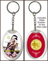 Massachusetts - State Bird & Flower Keychain - with Gold Plated State Quarter
