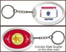 Massachusetts - State Flag Keychain - with Gold Plated State Quarter