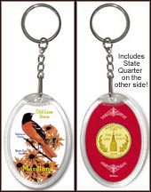 Maryland - State Bird & Flower Keychain - with Gold Plated State Quarter