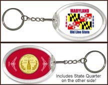 Maryland - State Flag Keychain - with Gold Plated State Quarter