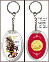 Maine - State Bird & Flower Keychain - with Gold Plated State Quarter
