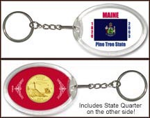 Maine - State Flag Keychain - with Gold Plated State Quarter