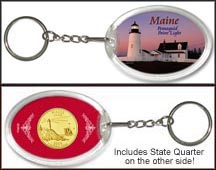 Maine - Pemaquid Point Light Keychain - with Gold Plated State Quarter