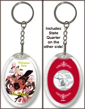 Michigan - State Bird & Flower Keychain