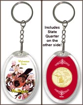 Michigan - State Bird & Flower Keychain - with Gold Plated State Quarter