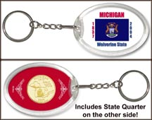 Michigan - State Flag Keychain - with Gold Plated State Quarter MAIN